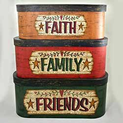 Faith, Family, Friends, Oval Stacking Boxes (Set of 3)