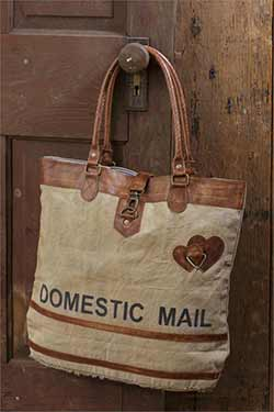 Domestic Mail Vintage Canvas Handbag