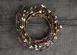 Burgundy, Cream, Gray Pip Berry Candle Ring (3.5 inch)