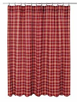 Braxton Red Plaid Fabric Shower Curtain