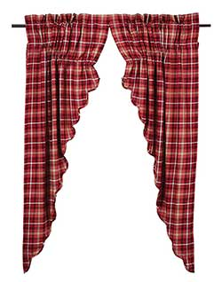 Braxton Red Plaid Prairie Curtain