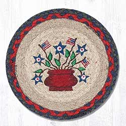 Americana Bouquet Braided Tablemat - Round (10 inch)