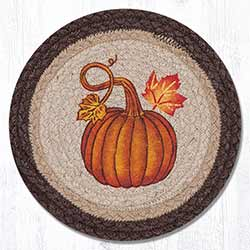 Pumpkin Autumn Braided Tablemat - Round (10 inch)