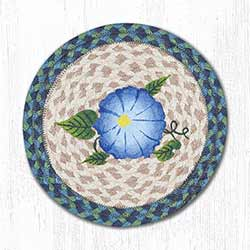 Blue Flower Braided Tablemat - Round (10 inch)