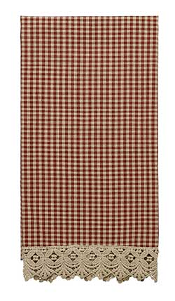 Ava Wine Check & Lace Kitchen Towel