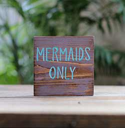 Mermaids Only Shelf Sitter Sign