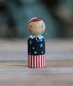 Patriotic Peg Doll Boy (or Ornament)