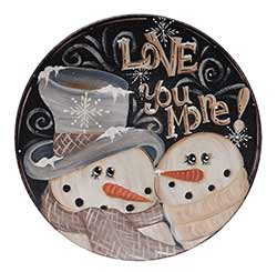 Love You More Snowmen Plate