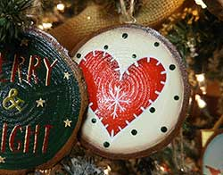 Nordic Heart Wood Slice Ornament - Red (Personalized)