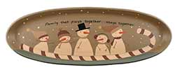 Family Snowman Primitive Tray