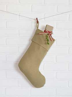 Festive Natural Burlap Stocking