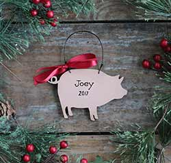 Pig Ornament - Pink (Personalized)