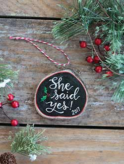 She Said Yes Wood Slice Ornament (Personalized)