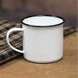 White Enamel Mug with Black Rim - 3 inch