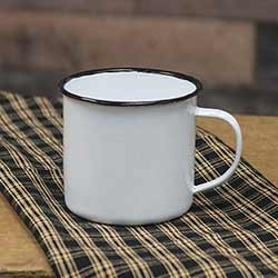 White Enamel Mug with Black Rim - 4 inch