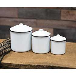 White Enamel Canister Set with Black Rim