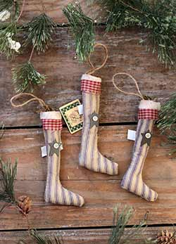 Primitive Stockings Ornaments (Set of 3)