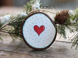 Nordic Heart Wood Slice Ornament (Personalized)