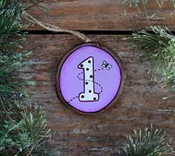 Age Wood Slice Ornament with Butterfly (Personalized)
