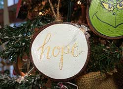 Hope Wood Slice Ornament (Personalized)