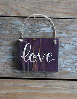 Love Sign Ornament (Purple)