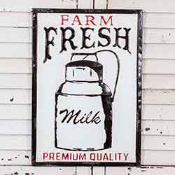 Farm Fresh Milk Metal Wall Sign
