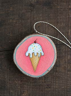 Ice Cream Cone Wood Slice Ornament (Personalized)