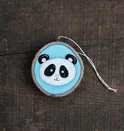 Panda Wood Slice Ornament (Personalized)