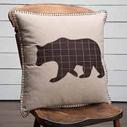 Wyatt Bear Applique Throw Pillow