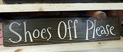 Shoes Off Please Wood Sign (Custom Color)