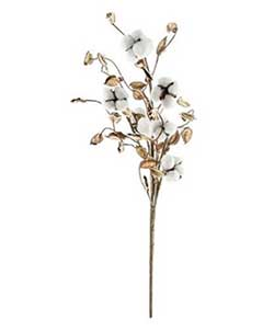 Cotton Ball 24 inch Branch with Shells