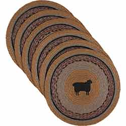Heritage Farms Sheep Braided Placemats (Set of 6) - Round