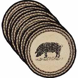 Sawyer Mill Pig Braided Placemats (Set of 6) - Round