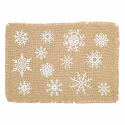 Snowflake Burlap Placemats (Set of 6)