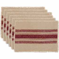 Vintage Burlap Stripe Red Placemats (Set of 6)