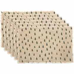 Vintage Burlap Tree Placemats (Set of 6)
