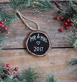Mr & Mrs Christmas with Heart Wood Slice Ornament (Personalized)