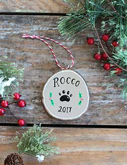 Pet Christmas Wood Slice Ornament (Personalized)