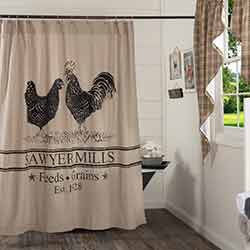 Sawyer Mill Charcoal Poultry Shower Curtain