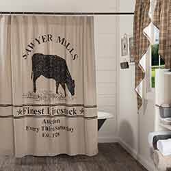 Sawyer Mill Charcoal Cow Shower Curtain
