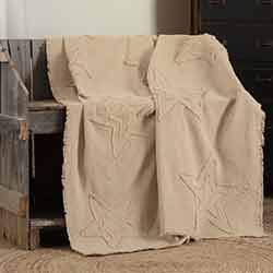 Burlap Vintage Star Woven Throw