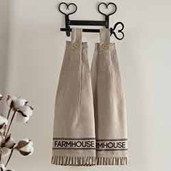 Sawyer Mill Charcoal Farmhouse Button Loop Kitchen Towels (Set of 2)
