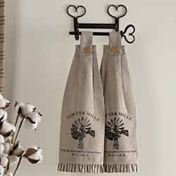 Sawyer Mill Charcoal Windmill Button Loop Kitchen Towels (Set of 2)