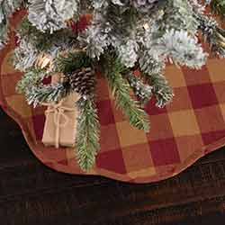 Burgundy Check Christmas Tree Skirt - Mini