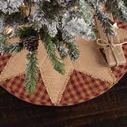 Burgundy Check Star Christmas Tree Skirt - Mini