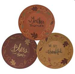 Gather, Thankful, Bless Wood Plates (Set of 3)