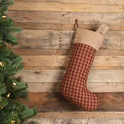 Burgundy Check Christmas Stocking with Buttons