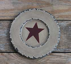 Chippy Paint Wood Plate with Red Star - Ivory