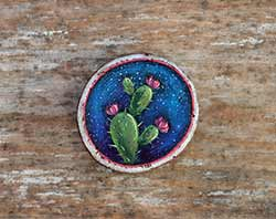 Cactus Galaxy Wood Slice Ornament 1