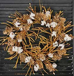 Fall Grass & Cotton Wreath